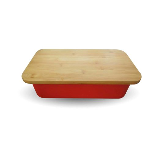 Top View of Red Bread Bin
