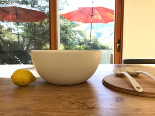 Large Serving Bowl with Servers in White
